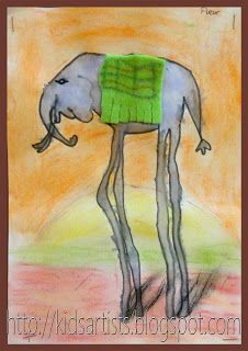 Kids Artists: High legged elephant in the style of Salvador Dali