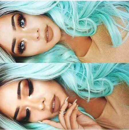 "Teal hair goddess #alvajay wearing #kokolashes in ""Goddess"