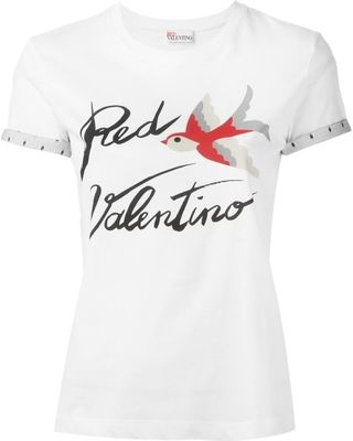 On Sale! Red Valentino bird print T-shirt, Women's, Size: XS, White, Cotton/Polyamide