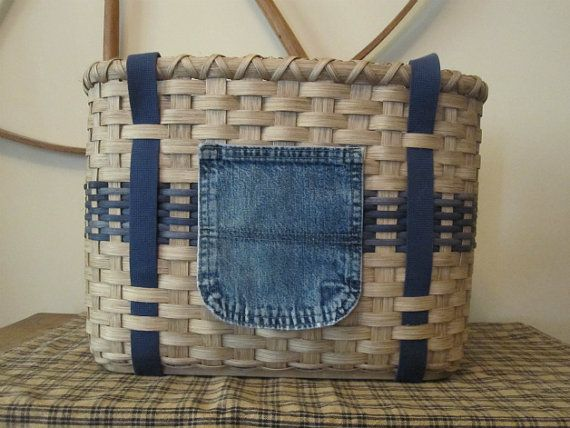 Picnic basket with denim touches, napkins . . .