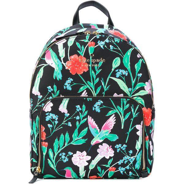 Kate Spade floral backpack ($350) ❤ liked on Polyvore featuring bags, backpacks, black, floral backpack, day pack backpack, floral print bags, knapsack bag and kate spade backpack