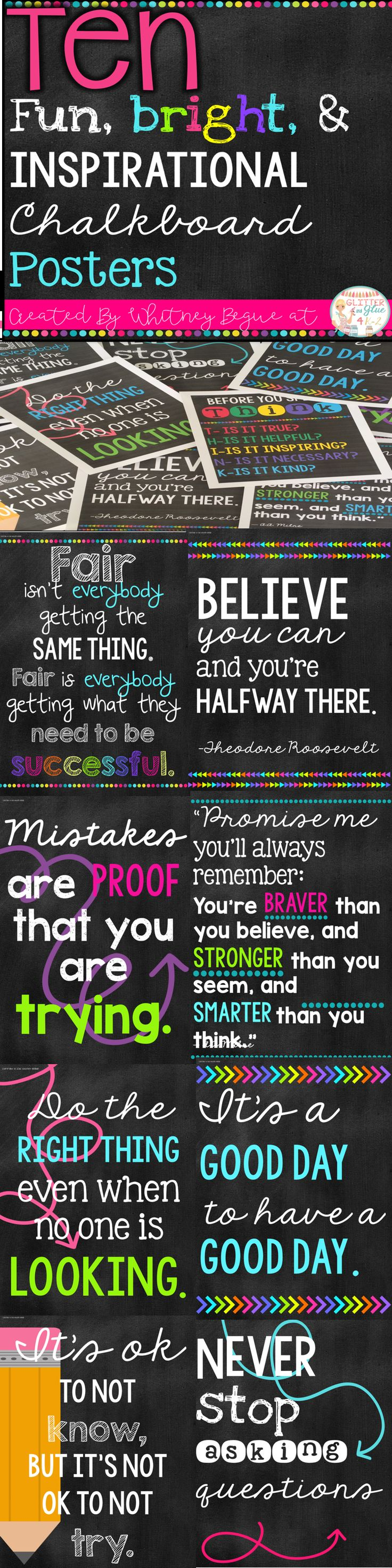 Looking for something inspirational to brighten up your classroom? These  posters include ten of my