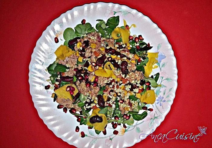 Salata mexicana cu ton,valeriana,rodie si mango