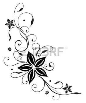 Tendril with large black flowers photo