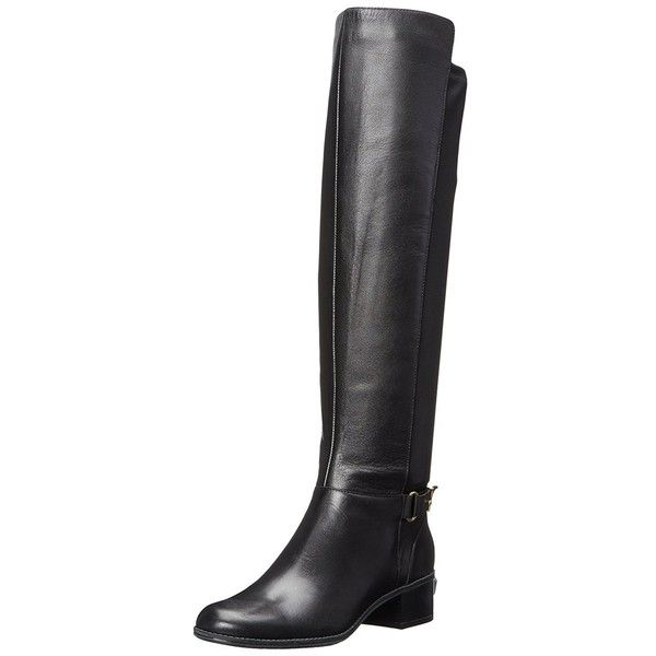 Bandolino Women's Cuyler Leather Riding Boot ($39) ❤ liked on Polyvore featuring shoes, boots, black, tall leather boots, ankle boots, over-the-knee leather boots, black over the knee boots and long black boots
