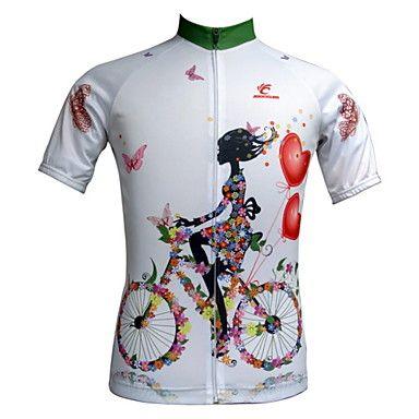 Mysenlan Women s Short Sleeve Cycling Jersey - White Classic   Slim    Floral   Botanical Bike Jersey   Top 1296e72fe