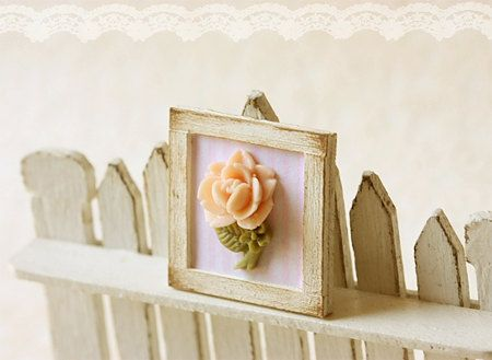 Dollhouse Miniature Shabby Chic Pink Framed by miniaturepatisserie, $16.90