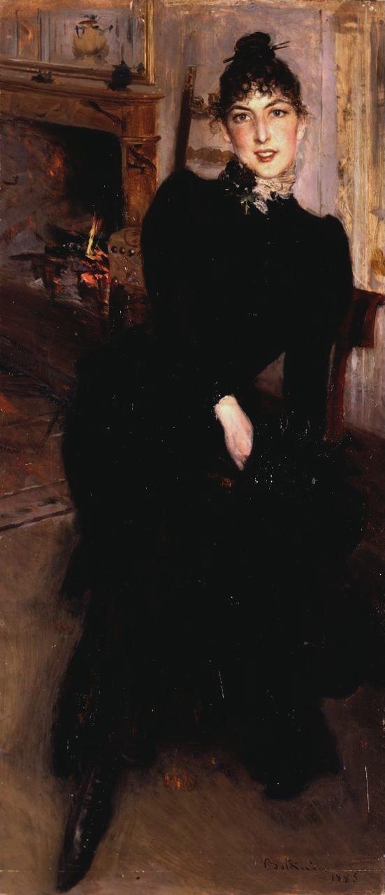 Giovanni Boldini - Ritratto di Alaide Banti al caminetto.  Alaide (1855-1929) figlia del  pittore macchiaiolo e amico Cristiano Banti , era la modella prediletta e aveva un rapporto intimo con Boldini ; qui appare qui in una posa spontanea e confidenziale, che porta a ricordare la familiarità e il legame sentimentale che la unirono in questi anni al pittore. Nel 1885 Boldini soggiornò ospite della famiglia Banti nella villa di Montorsoli ove eseguì altri ritratti di Alaide.