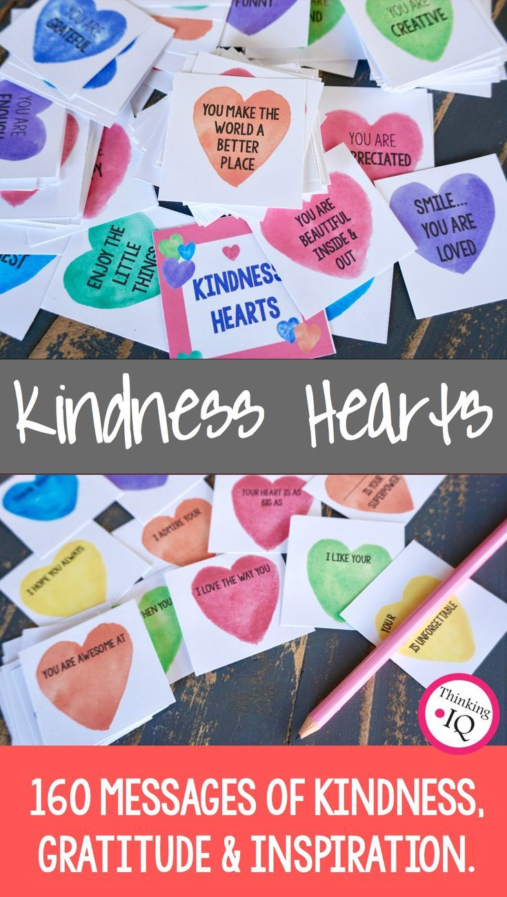 Spread Love and Kindness! Kindness Heart cards is a kindness activity designed to help spread kindness, inspiration, gratitude and positive messages throughout the school. They encourage positive classroom culture and a school culture of kindness by making all students, teachers and staff feel important and valued. 160 kindness heart cards