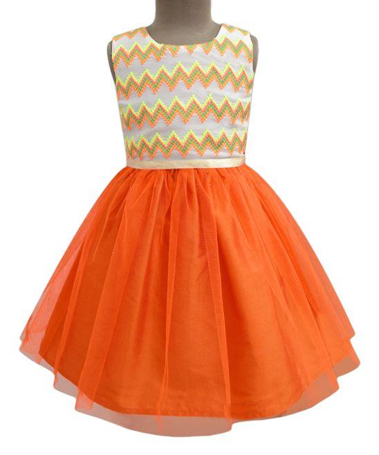 Neon Orange Chevron Tulle Dress - Infant Toddler & Girls