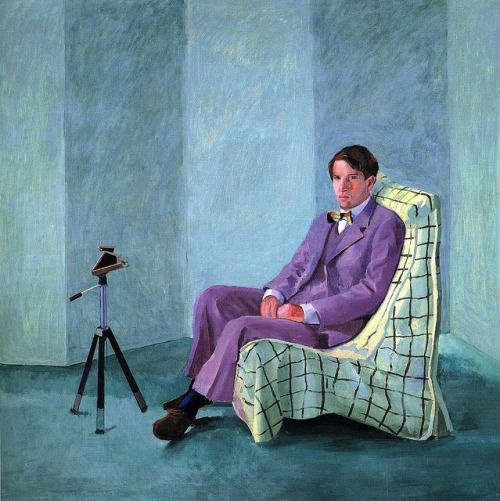 blastedheath: David Hockney (British, b. 1937), Peter Schlesinger with Polaroid Camera, 1977. Oil on canvas, 152.4 x 152.4 cm. Astrup Fearnley Collection, Oslo.