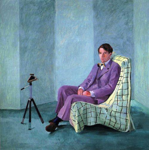 David Hockney, Peter Schlesinger with Polaroid Camera, 1977, il on canvas