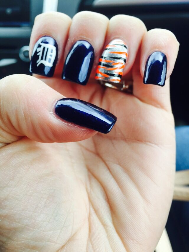 My Detroit Tigers Nails Healthy Skin Hair And Body In 2018 Pinterest Tiger Nail Art