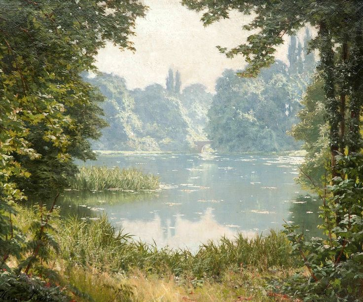 """A Summer's Day on the Lake Henri Biva (French, 1848-1929)"""