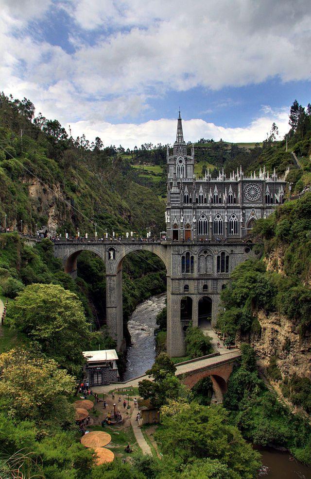 """COLOMBIA   """"Siete maravillas de Colombia"""" Santuario de Nuestra Señora de Las Lajas, en Ipiales, Nariño (Fuente: Wikipedia)."""