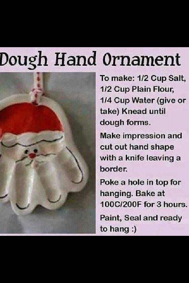 Dough hand ornament Christmas gift for kids to make