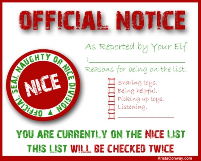 ... Elf on the Shelf Nice List Certificate {free printable} ~ Fill out