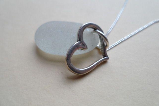 White Seaglass Sea Glass Sterling Silver Valentine Heart Pendant Necklace OOAK £22.95