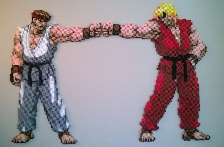 Ryu and Ken fist bump perler bead sprite by Bgoodfinger on deviantart