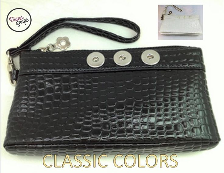 Classic black or white wristlet with 3 interchangeable snaps! Visit: http://www.dianasnaps.com/partner/LauraG