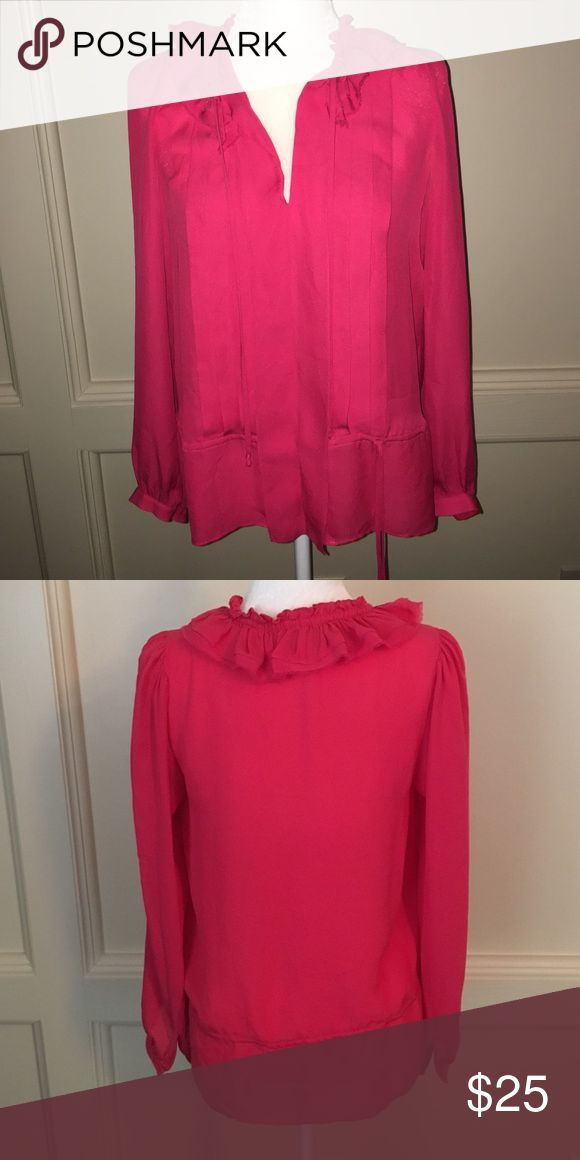 BCBGMAXAZRIA Top Hot pink semi sheer top by BCBGMAXAZRIA.  Like new. Ruffles, pleating, and optional cinch tie. From top of shoulders to bottom is abt 25. Across underarm to underarm is abt 18 1/2 BCBGMaxAzria Tops Blouses