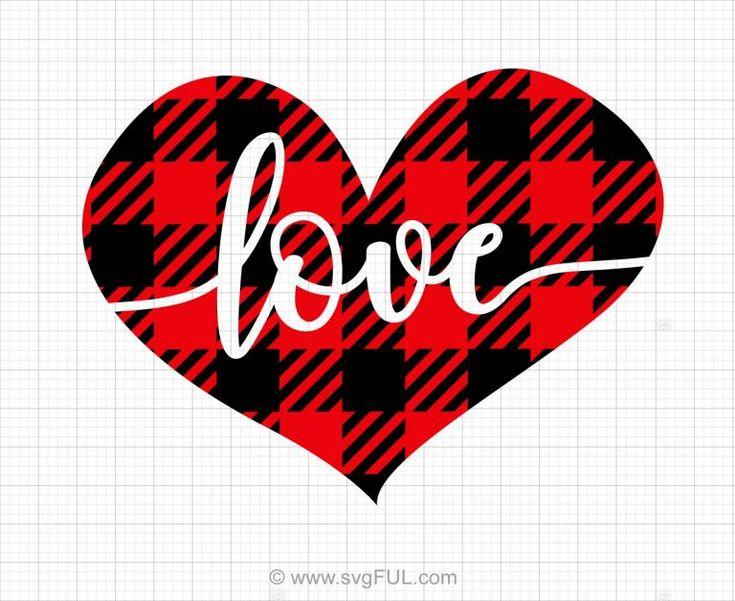 Buffalo Plaid Love Heart Svg Clip Art | Diy valentine's ...