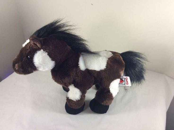 Ganz Webkinz HM147 Plush Pinto Horse Pony Stuffed Animal Toy Brown/White No Code #GANZ