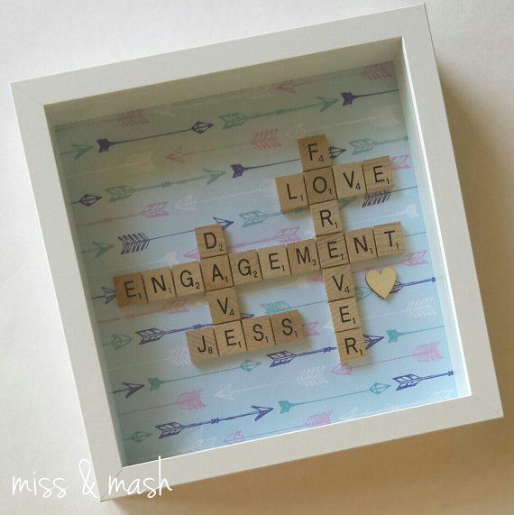 personalised scrabble wall art wedding engagement name frame gift - Engagement Photo Frames