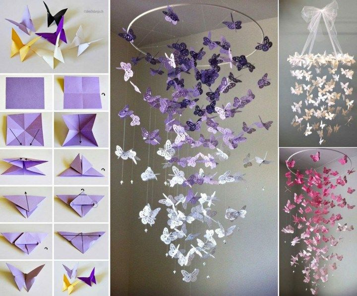 Beautiful DIY Butterfly Mobile you can make for a child's bed room or as a decoration. Tutorial gives several recommendations of butterfly styles.