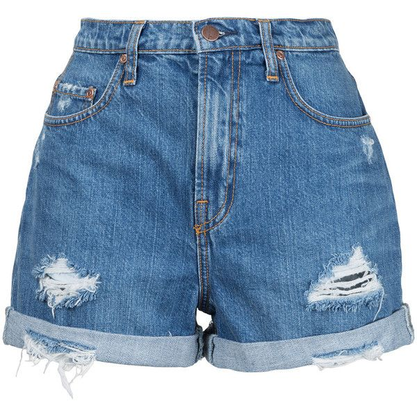 Nobody Denim Stevie Short Angels (€130) ❤ liked on Polyvore featuring shorts, blue, boyfriend shorts, nobody denim, high-rise shorts, blue short shorts and blue shorts