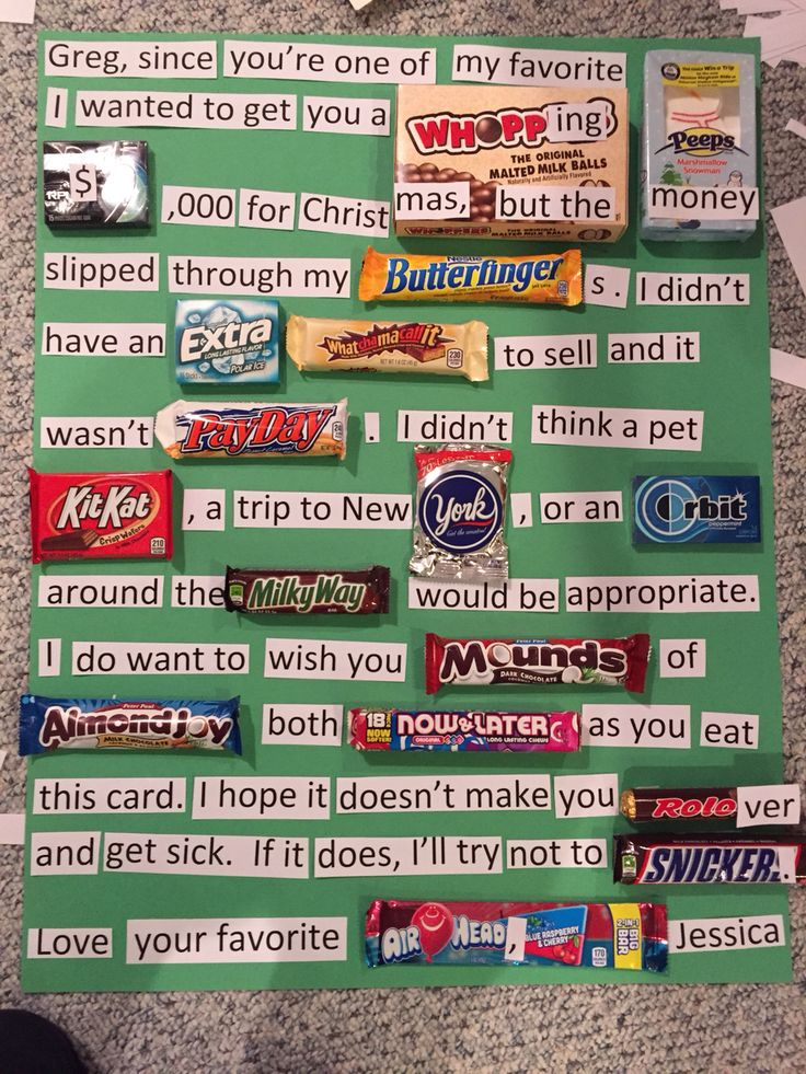 Candy poster. Perfect for Christmas or birthdays. Made this for my brother. Best sister award??