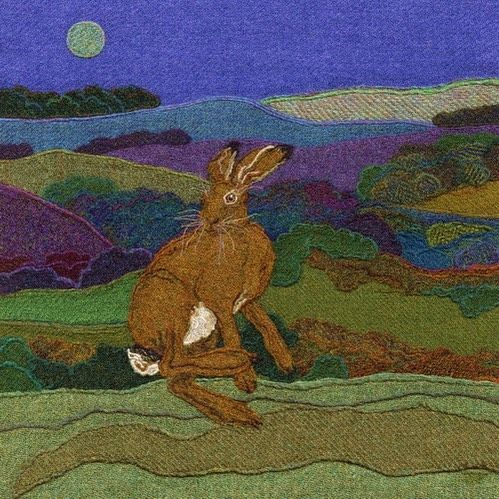 """41 vind-ik-leuks, 1 reacties - Jane Jackson (@brightseedtextiles) op Instagram: '""""Leaping Hare"""" is off to a lovely new home from the Bakehouse Gallery in Alnwick today.…'"""