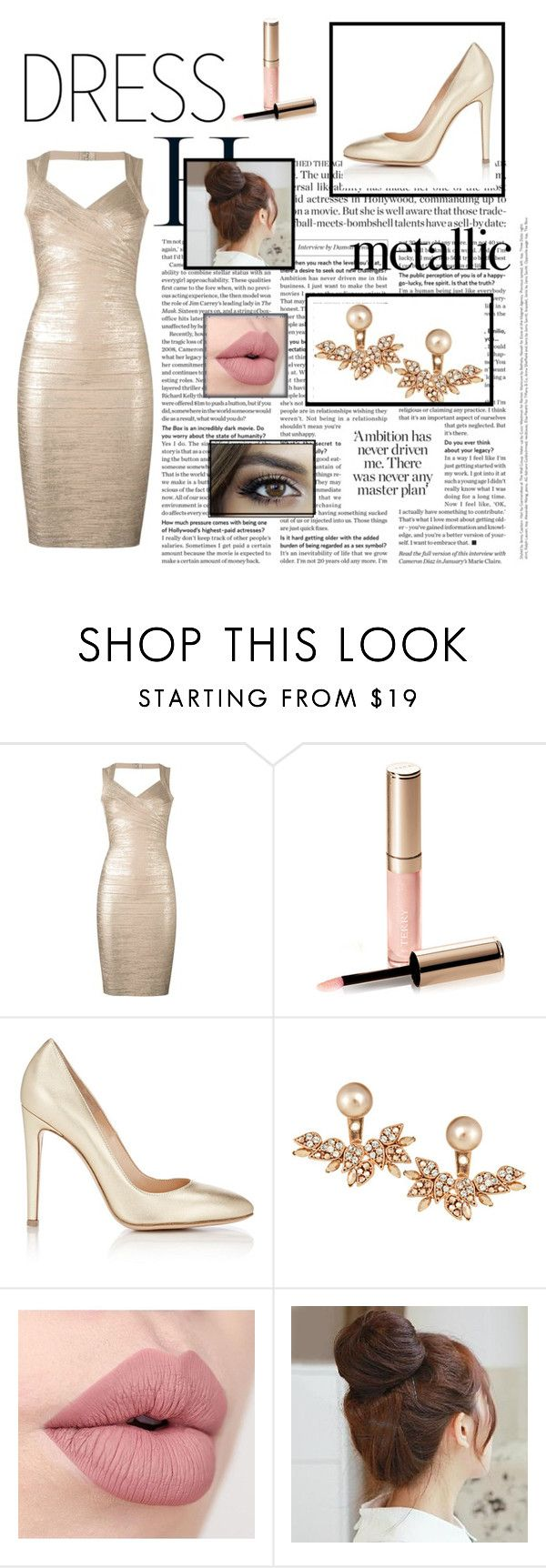 """""""Shine"""" by lissa-12 ❤ liked on Polyvore featuring Hervé Léger, By Terry, Gianvito Rossi, Joanna Laura Constantine and Pin Show"""