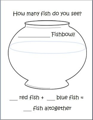 1 Fish, 2 Fish Addition (FREE Addition template http://kinderqueendom.blogspot.com/)