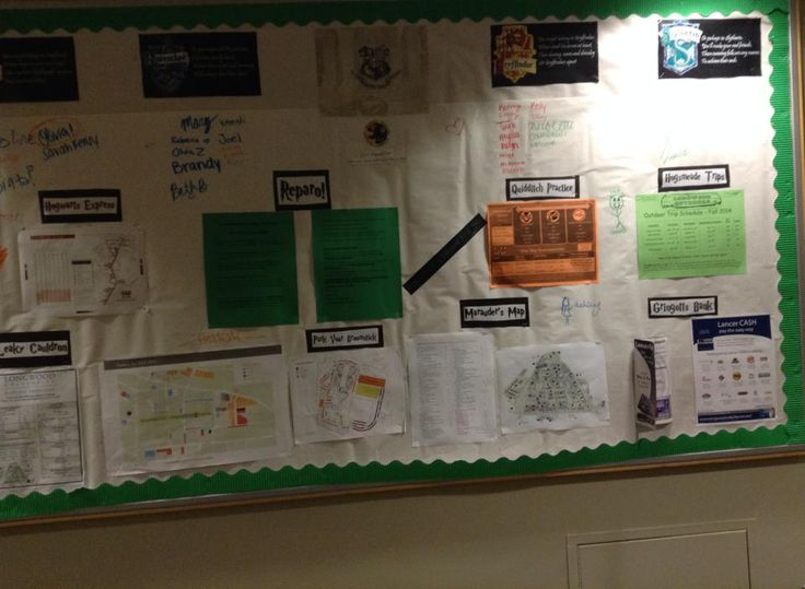 Harry Potter-themed bulletin board! I taped markers onto it for residents to sign their name under their house, and the bottom section has info about campus under Harry Potter titles, i.e. Hogwarts Express for the bus schedule, Leaky Cauldron for the dining hall hours, and Marauder's Map for a campus map