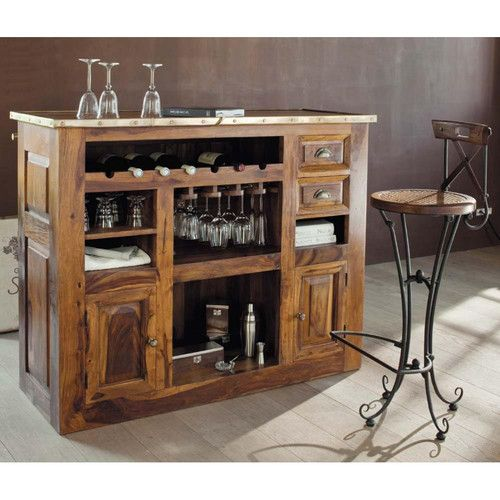 Mobile bar in massello di legno di sheesham l 132 cm - Maisons du monde meuble tv ...