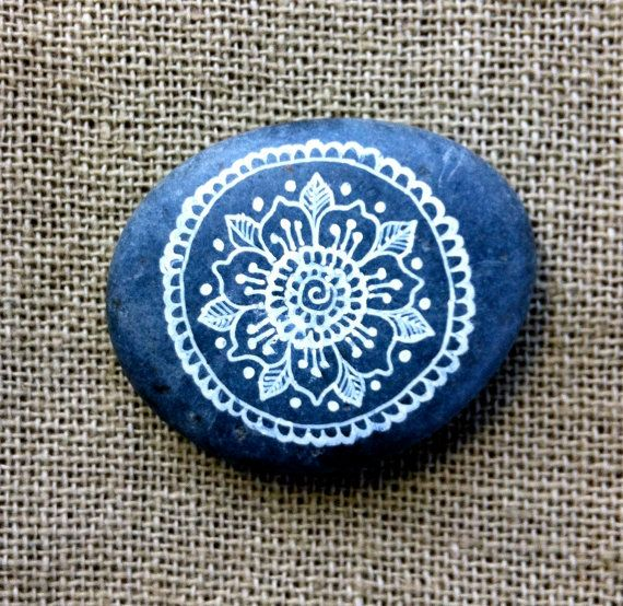 Mandala Painted Pebble by MagaMerlina on Etsy