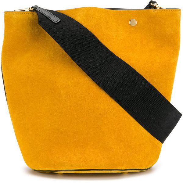 Marni bucket bag (23.824.895 IDR) ❤ liked on Polyvore featuring bags, handbags, shoulder bags, yellow, orange bucket bag, snap closure purse, reversible purse, bucket bags and orange purse