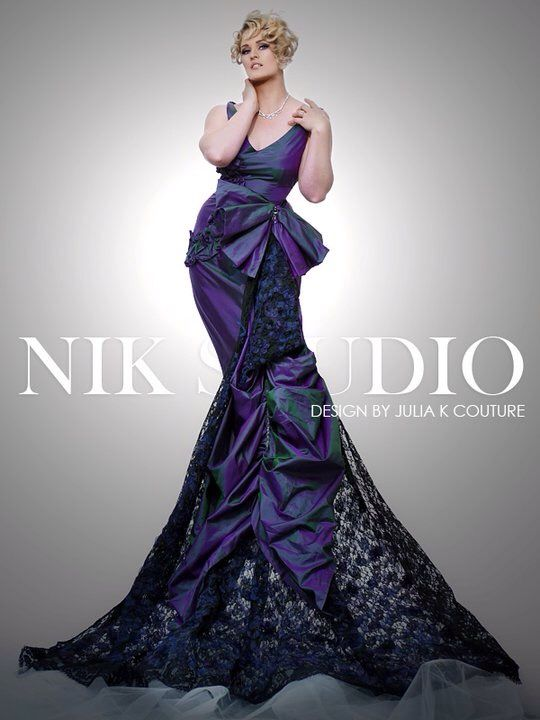 Julia K Couture gown lace and silk with Swarovski crystals
