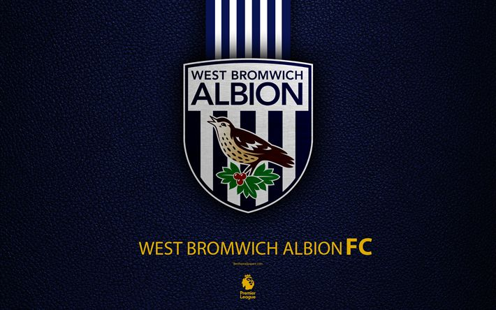 Download wallpapers West Bromwich Albion, FC, 4k, English football club, leather texture, Premier League, logo, emblem, West Bromwich, England, UK, football