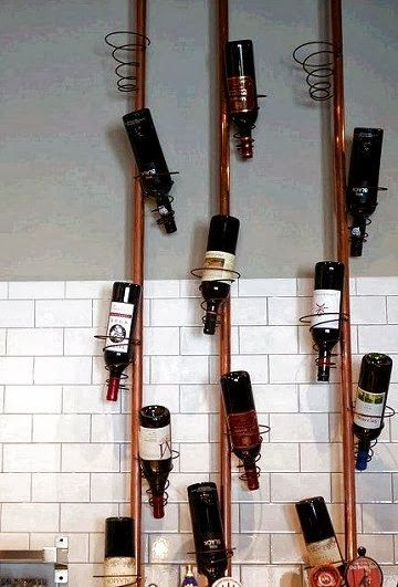 Copper pipe and bed spring wine rack