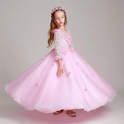 Neu Blumenmädchen Kinder Kleid Kommunion Prinzessin Mädchen Ballkleid Partykleid