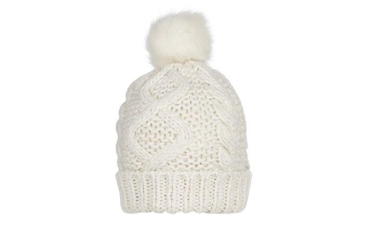 Faux Fur Pom Pom Cream Bobble Hat