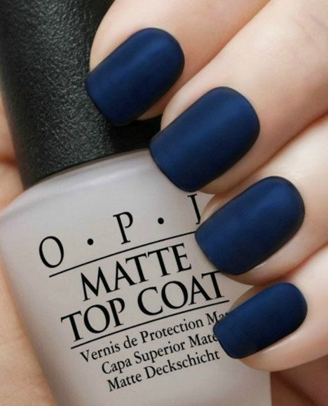 Matte Navy Manicure~OPI Russian Navy,OPI Matte Top Coat-11 Main
