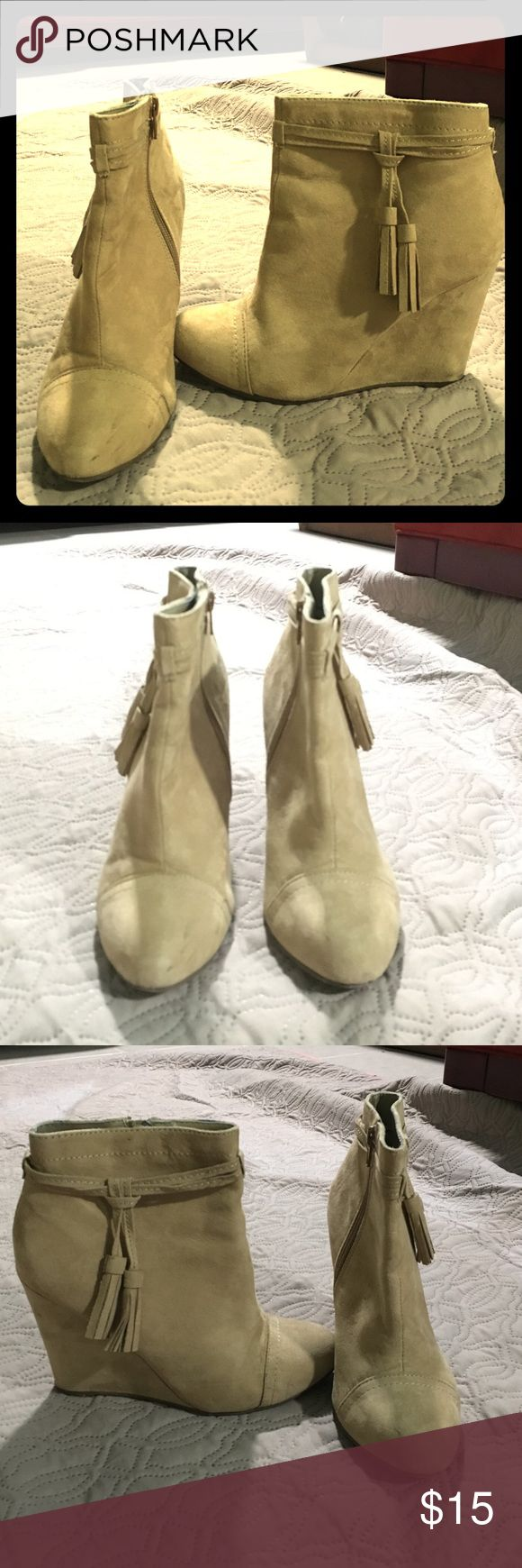 Tan/Beige Wedge Booties Super cute Tan/ Beige Wedge booties. Used but in good conditions. Forever 21 Shoes Ankle Boots & Booties