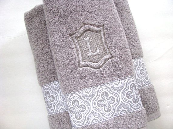Personalized Towels, hand towel, bathroom, personalized gift, embroidered towels, grey bathroom, gray, wedding gift, monogrammed, august ave