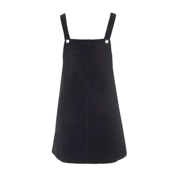 TopShop Moto Cord Pinafore Dress found on Polyvore featuring dresses, black, textured dress, pinafore dresses, button dress and topshop dresses