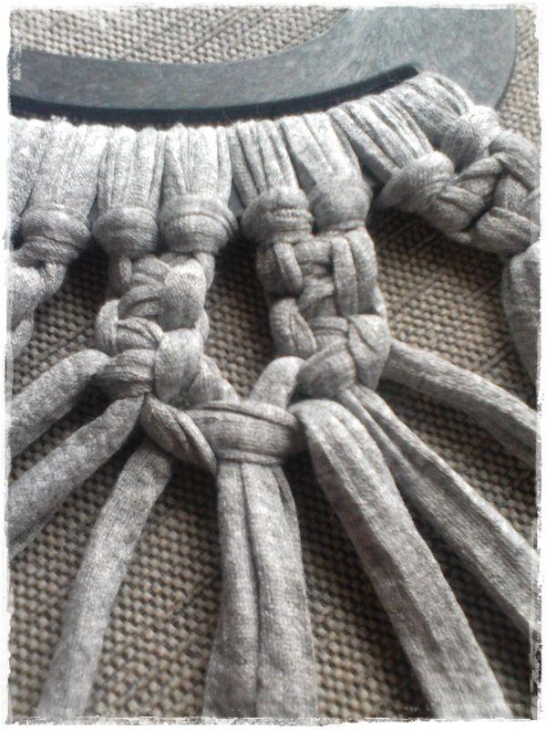 Mis labores de Patchwork...y algo más: Tutorial bolso de trapillo a macramé