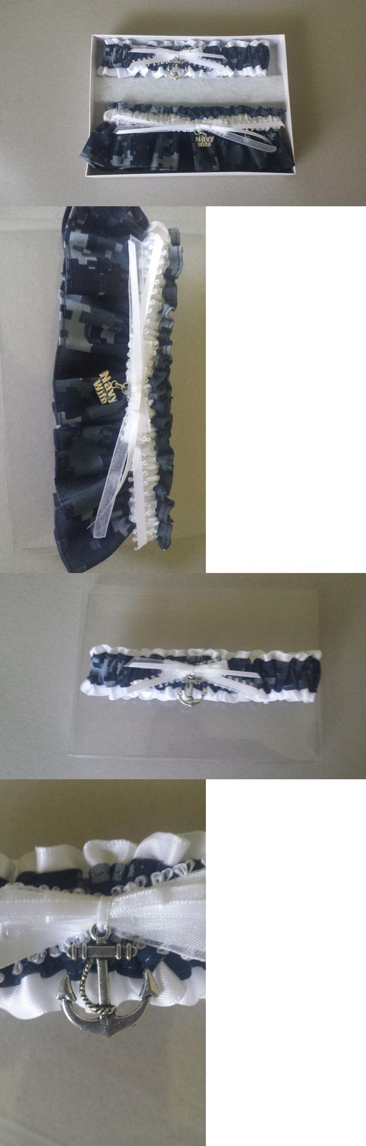 Garters 15718: New Navy Blue White Wedding Garter Prom Us Navy Nautical Garter Marine Military -> BUY IT NOW ONLY: $30 on eBay!
