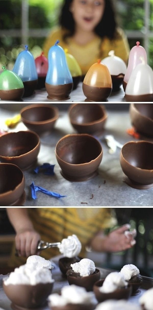 {40 Ways to Make an Amazing Ice Cream Sundae} Idea: homemade chocolate cups for your sundae